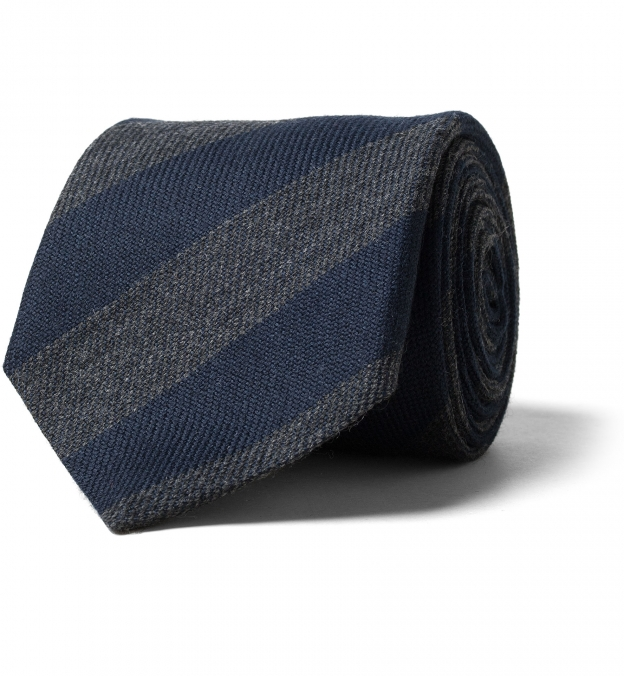 Navy and Charcoal Striped Wool Tie