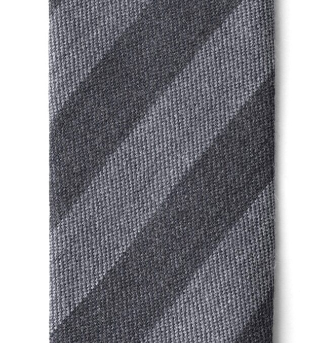 Grey and Charcoal Striped Wool Tie