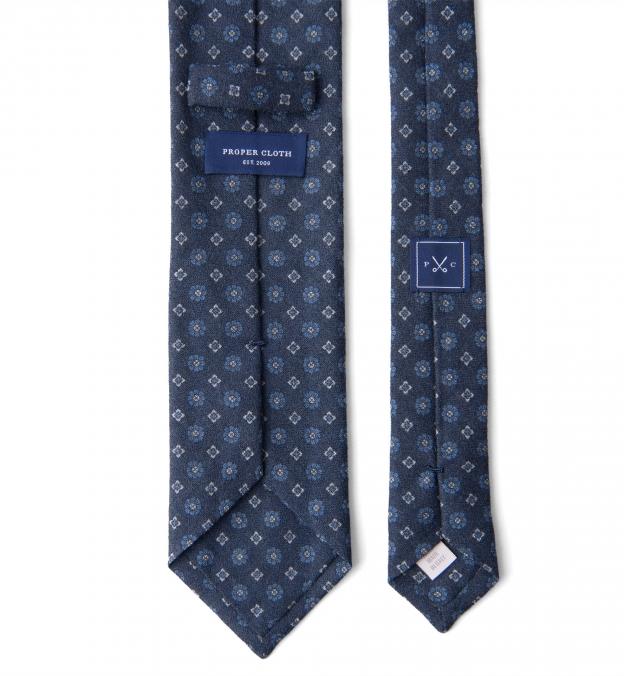 Navy and Light Blue Foulard Wool Tie