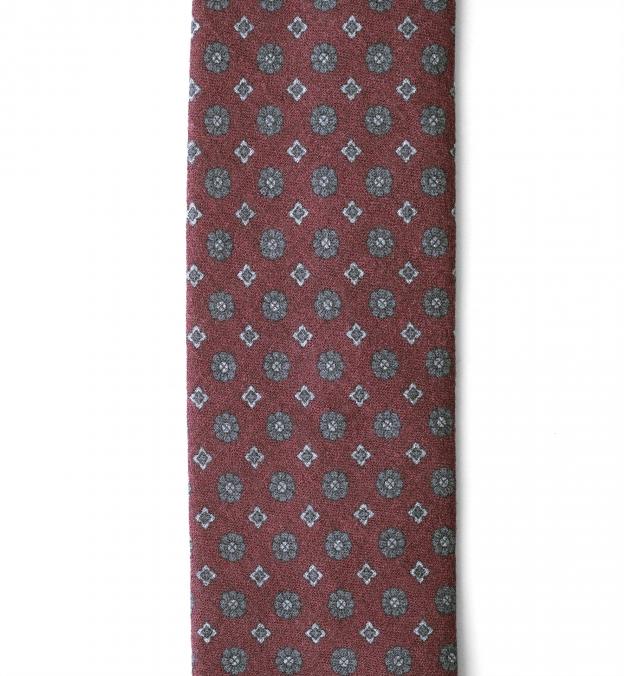 Scarlet and Grey Foulard Print Wool Tie