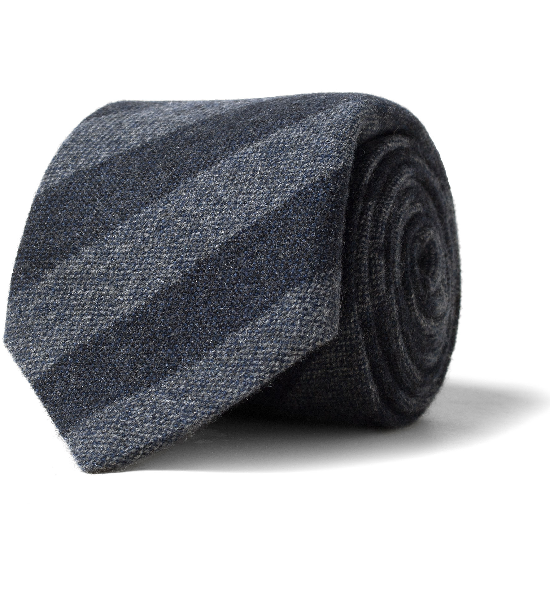 Zoom Image of Grey and Charcoal Striped Cashmere Tie