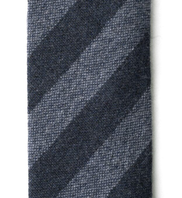 Grey and Charcoal Striped Cashmere Tie