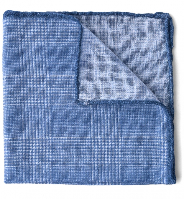 Light Blue Cashmere Glen Plaid Pocket Square