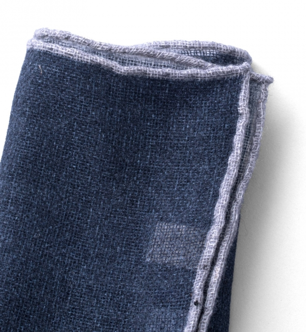 Grey Tipped Navy Cashmere Pocket Square
