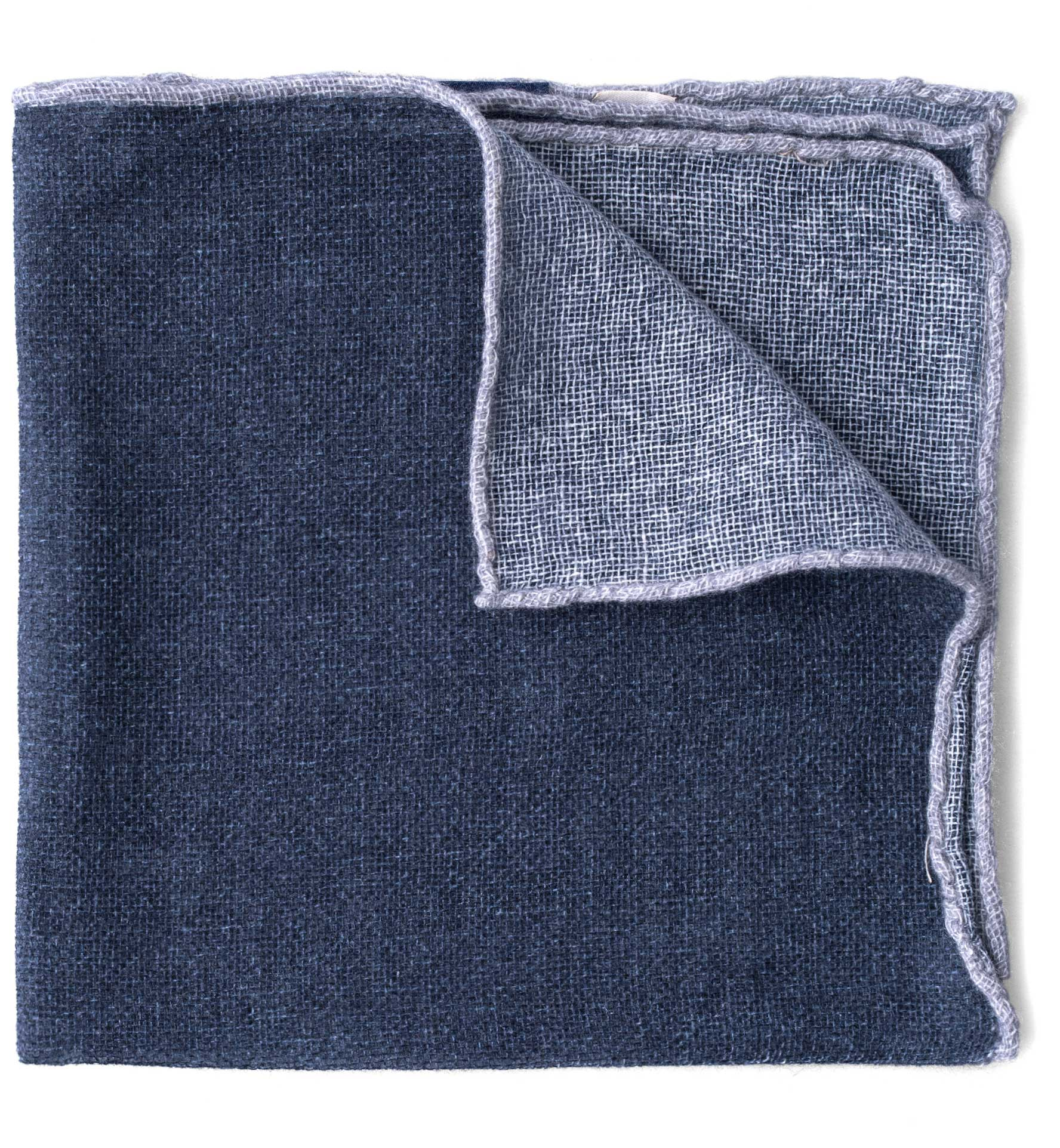 Zoom Image of Grey Tipped Navy Cashmere Pocket Square
