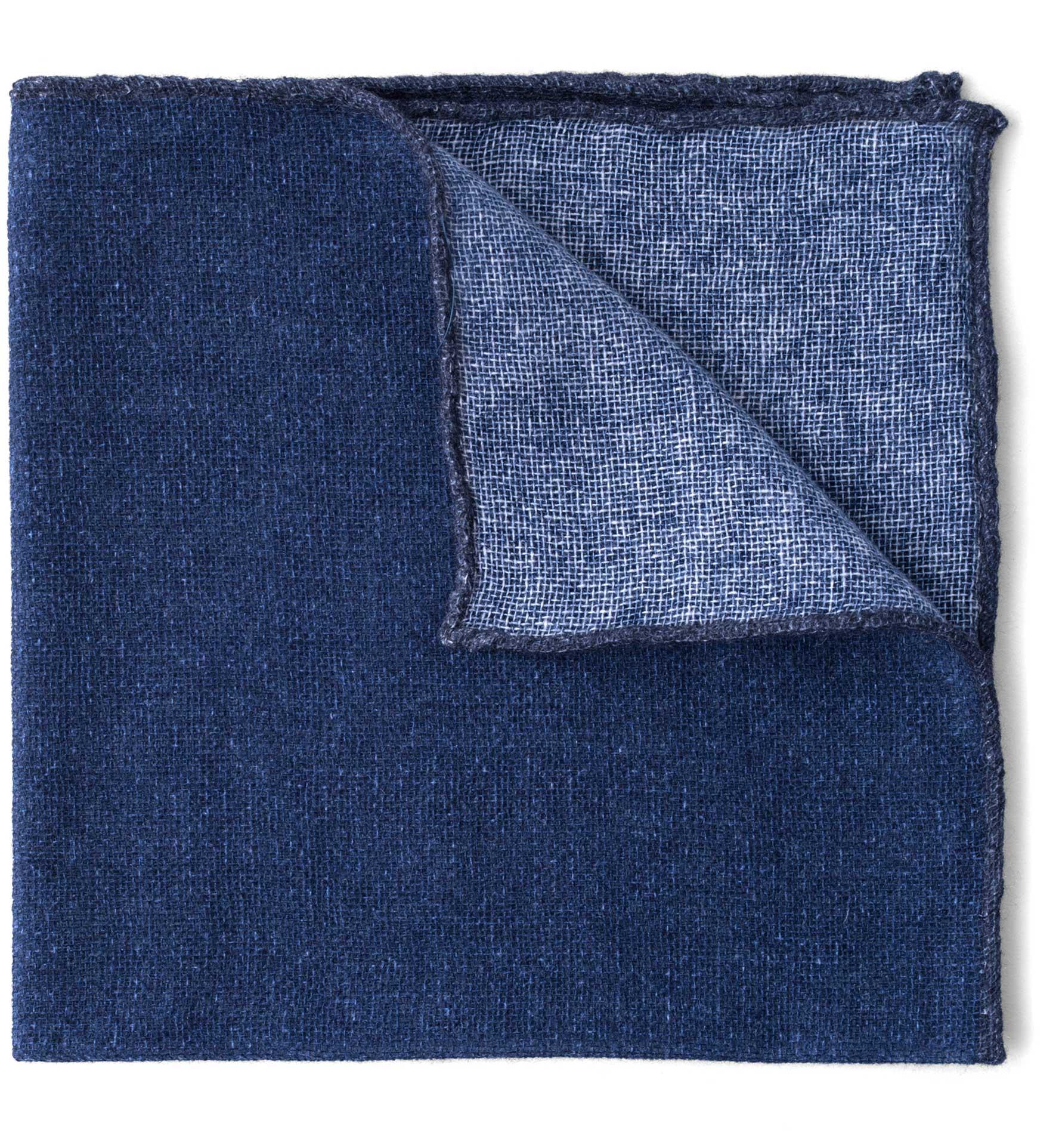 Zoom Image of Navy Tipped Indigo Cashmere Pocket Square