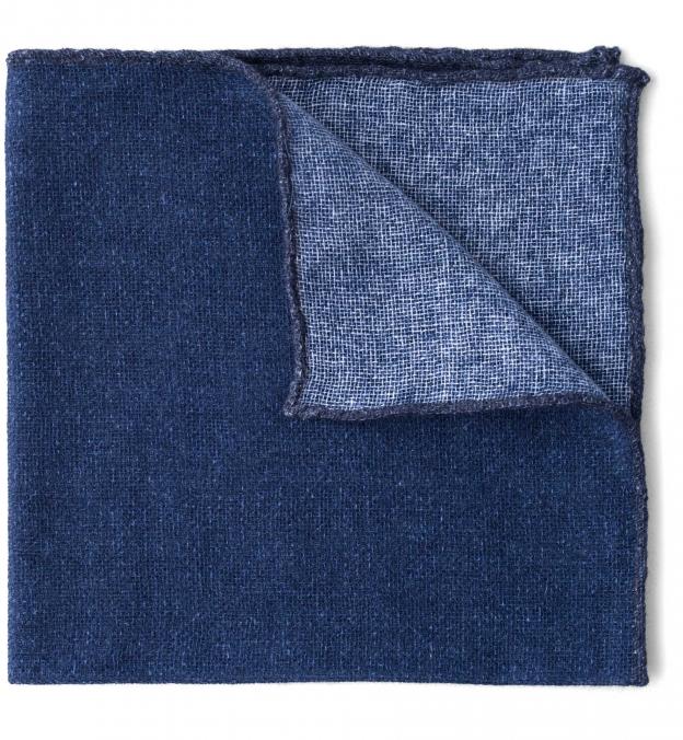 Navy Tipped Indigo Cashmere Pocket Square