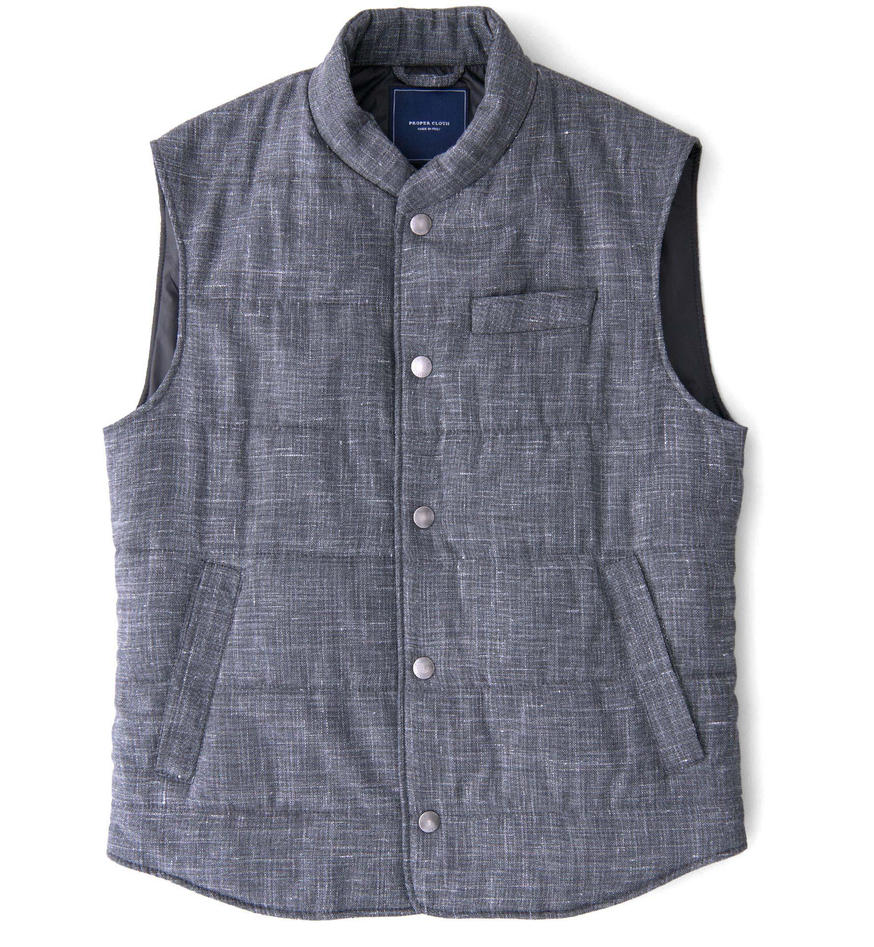 Zoom Image of Cortina I Grey Slub Wool Blend Vest