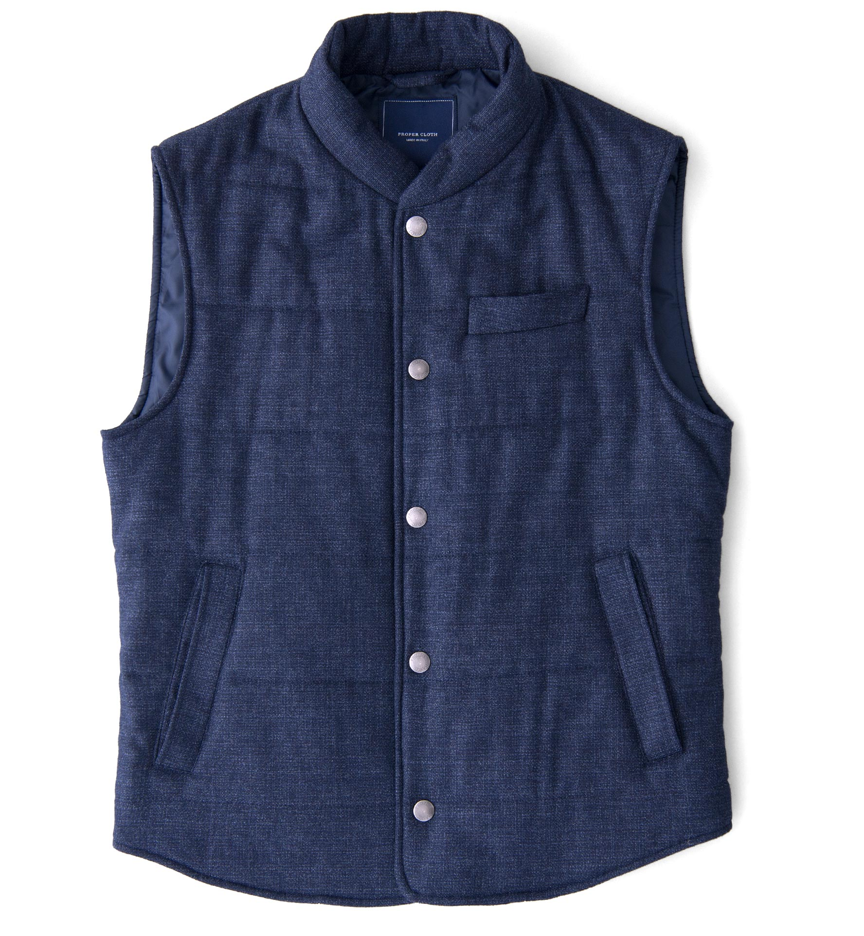 Zoom Image of Cortina I Navy Textured Flannel Snap Vest