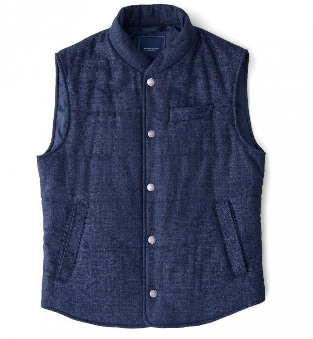 Cortina I Navy Textured Flannel Snap Vest