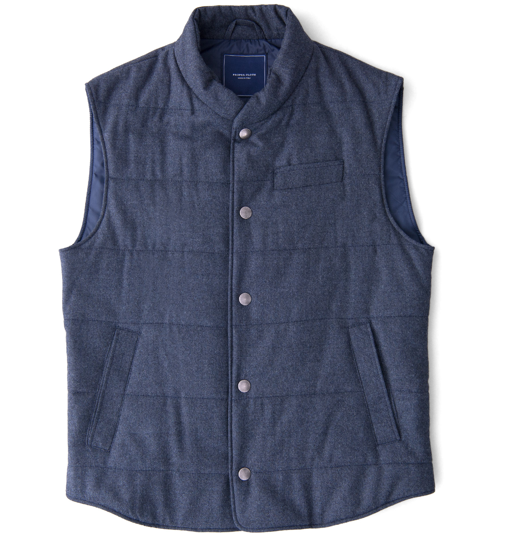 Zoom Image of Cortina I Slate Blue Flannel Snap Vest