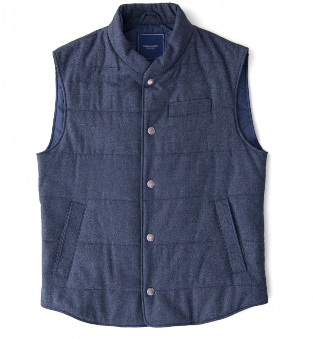 Cortina I Slate Blue Flannel Snap Vest