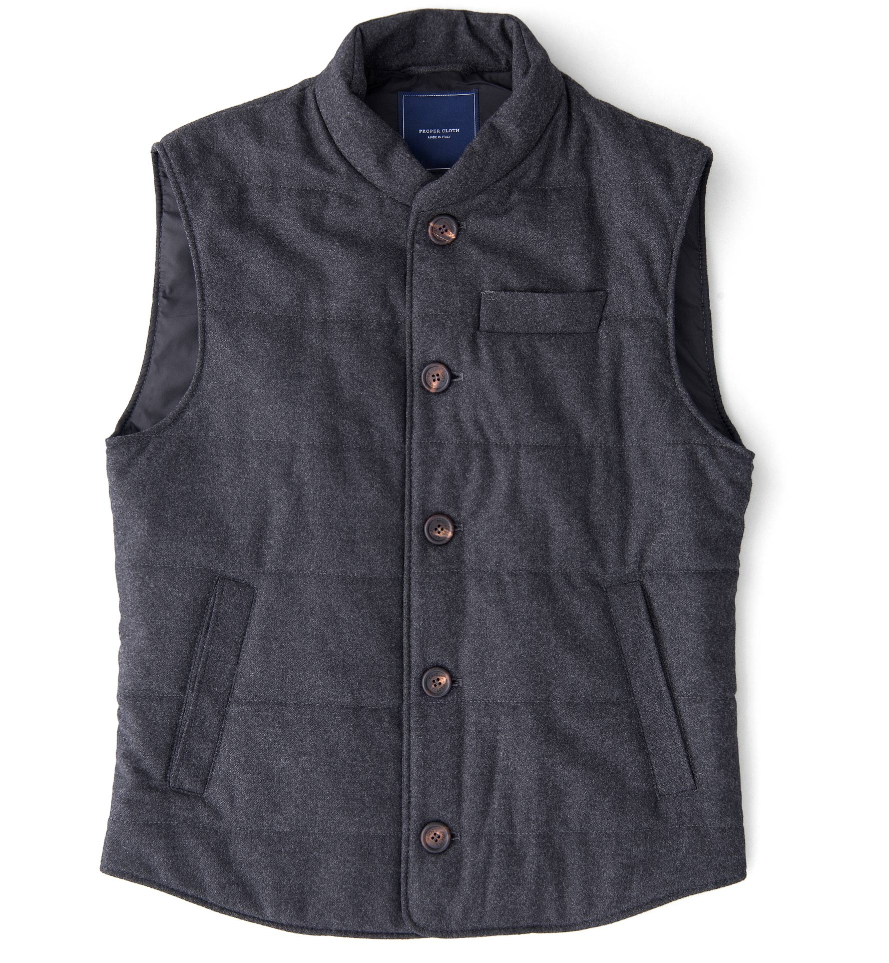 Zoom Image of Cortina I Charcoal Flannel Button Vest