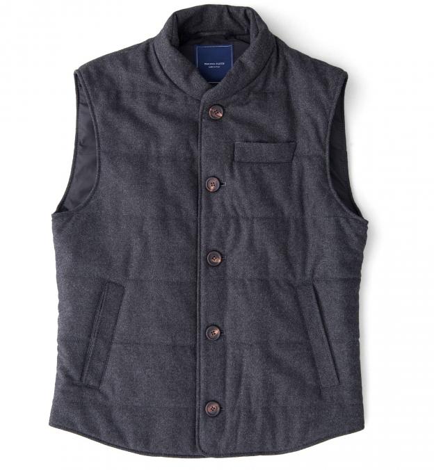 Cortina I Charcoal Flannel Button Vest