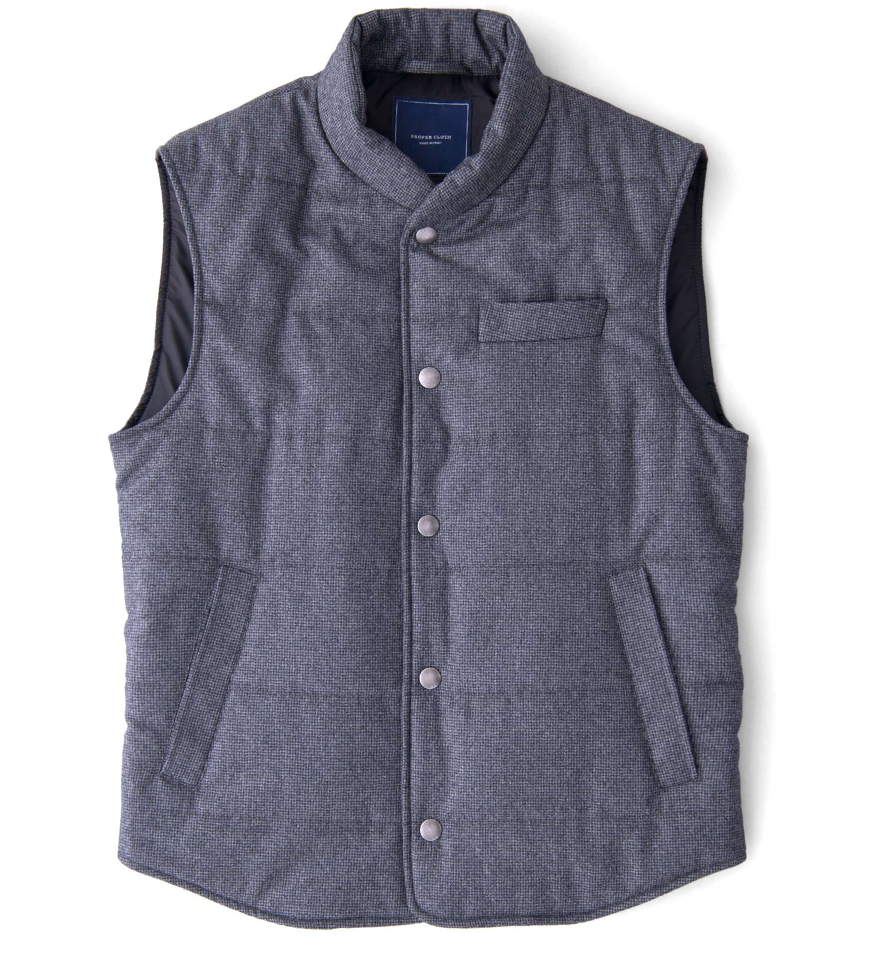 Zoom Image of Cortina I Grey Houndstooth Flannel Snap Vest