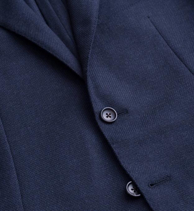 Hudson Navy Wool and Cashmere Flannel Hopsack Jacket