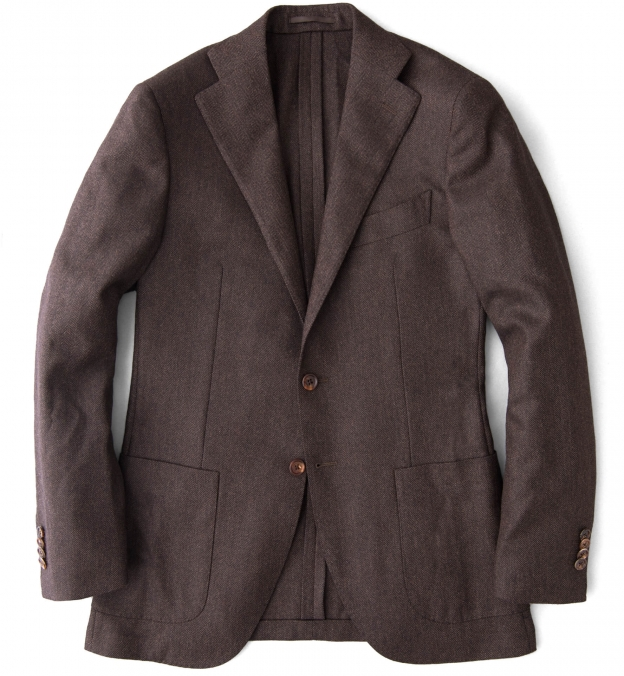 Hudson Walnut Herringbone Wool and Cashmere Jacket