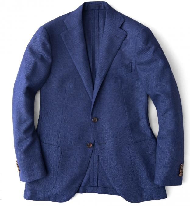 Hudson Ocean Blue Wool Flannel Hopsack Jacket