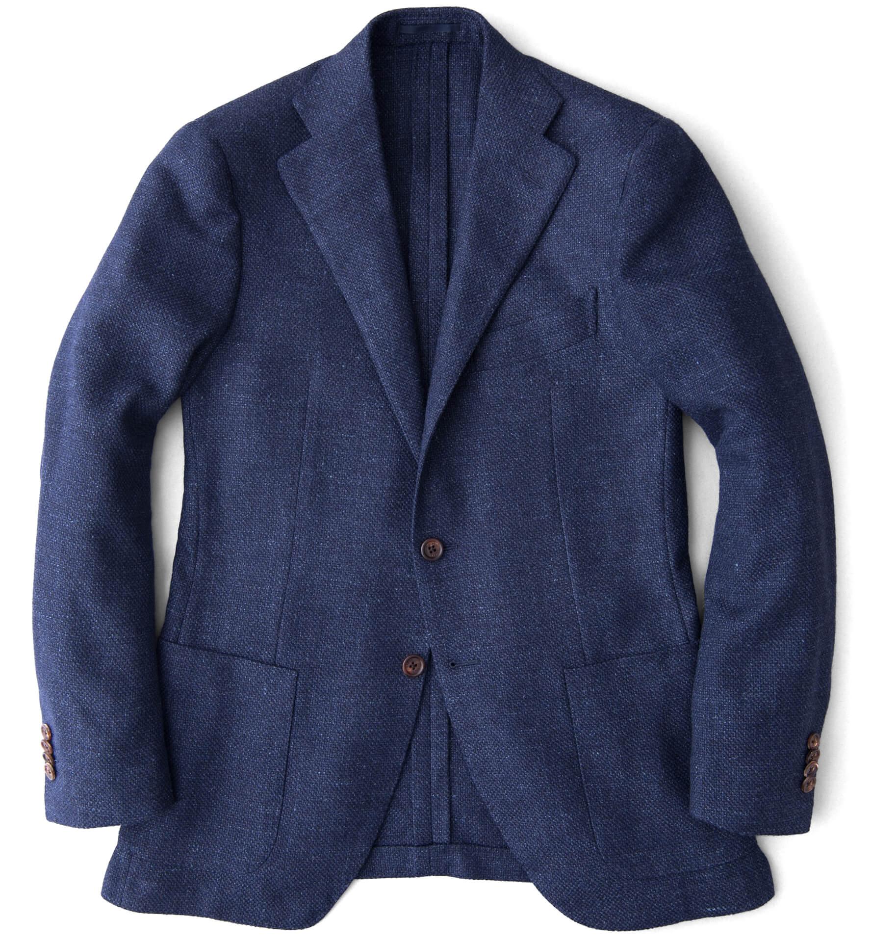 Zoom Image of Hudson Navy Basketweave Wool Flannel Jacket