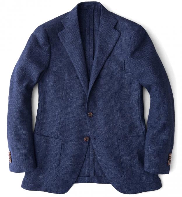 Hudson Navy Basketweave Wool Flannel Jacket