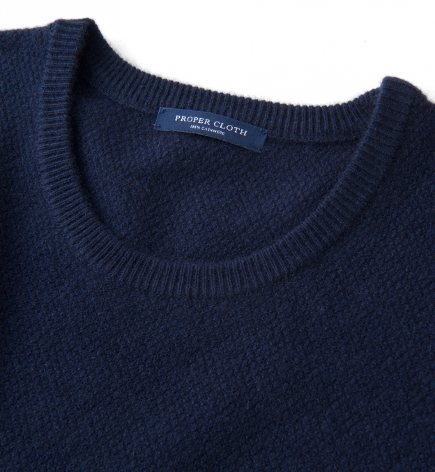 Navy Cobble Stitch Cashmere Crewneck Sweater