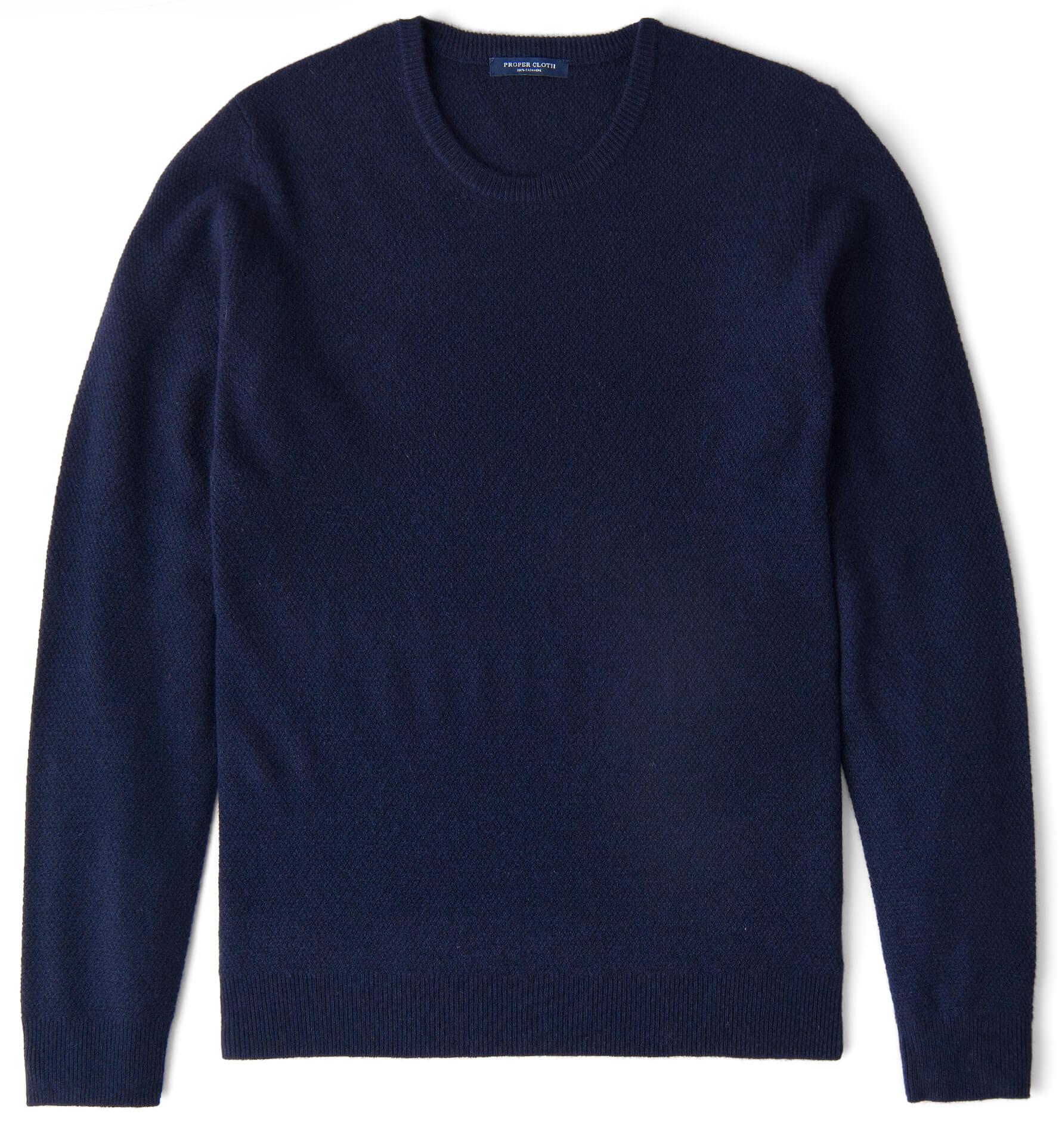 Zoom Image of Navy Cobble Stitch Cashmere Crewneck Sweater