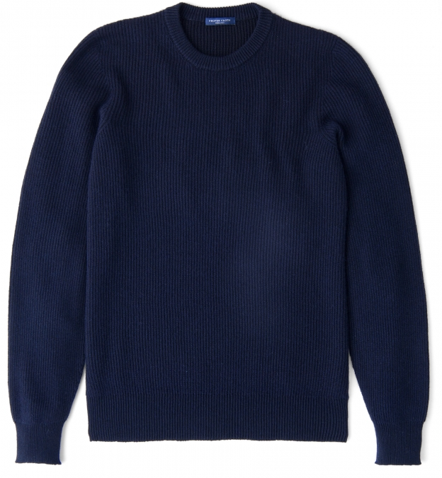 Navy Ribbed Cotton and Cashmere Crewneck Sweater