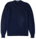 Navy Ribbed Cotton and Cashmere Crewneck Sweater Product Thumbnail 1