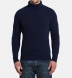 Navy Ribbed Cotton and Cashmere Rollneck Sweater Product Thumbnail 5