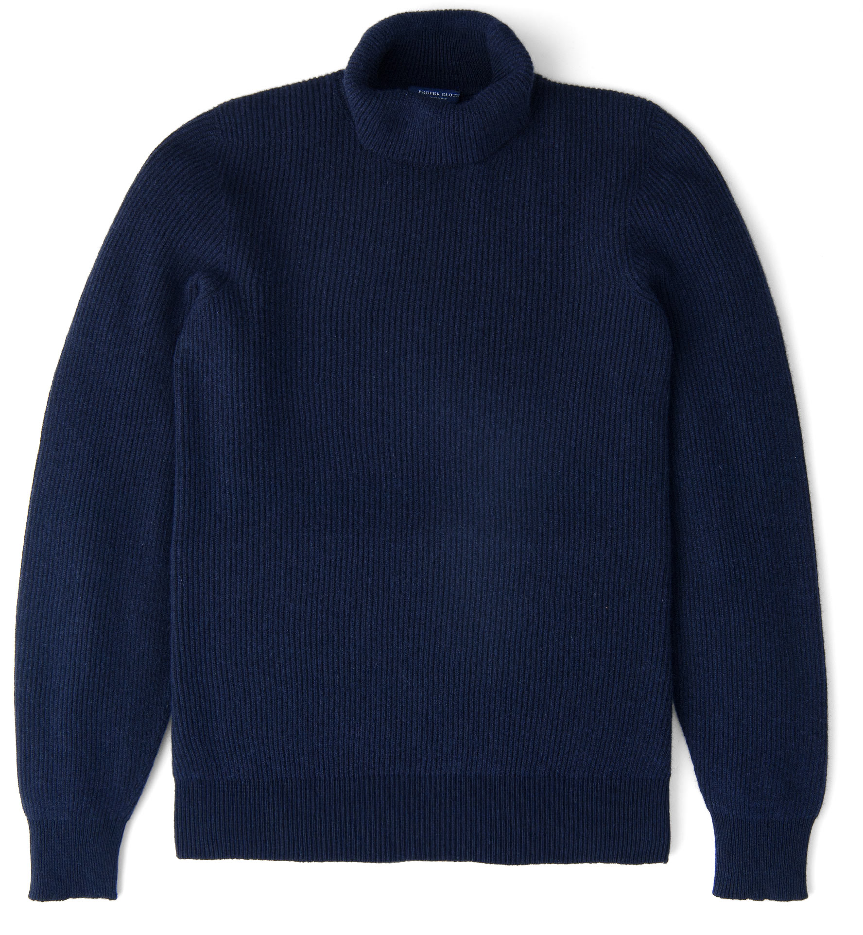Zoom Image of Navy Ribbed Cotton and Cashmere Rollneck Sweater