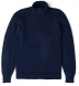Navy Ribbed Cotton and Cashmere Rollneck Sweater Product Thumbnail 1