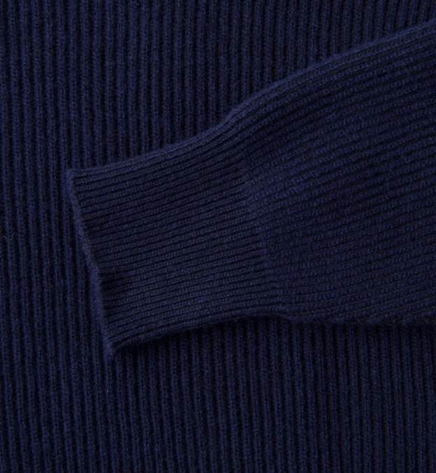 Navy Ribbed Cotton and Cashmere Rollneck Sweater