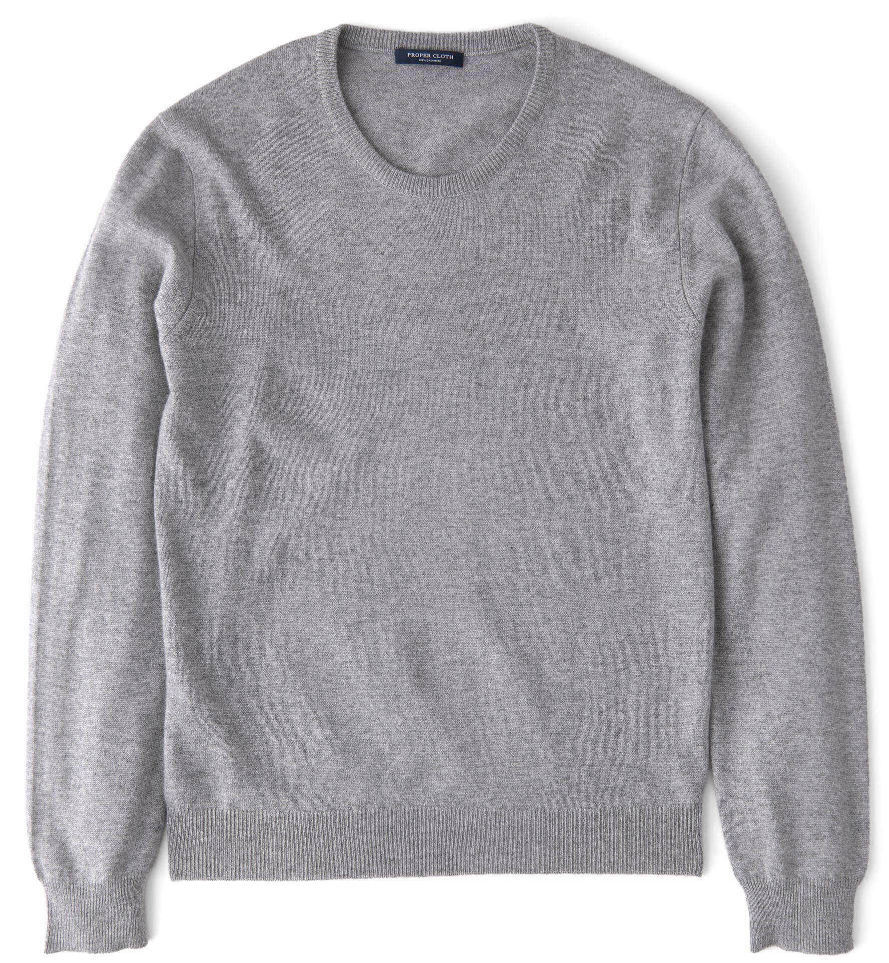 Zoom Image of Light Grey Cashmere Crewneck Sweater