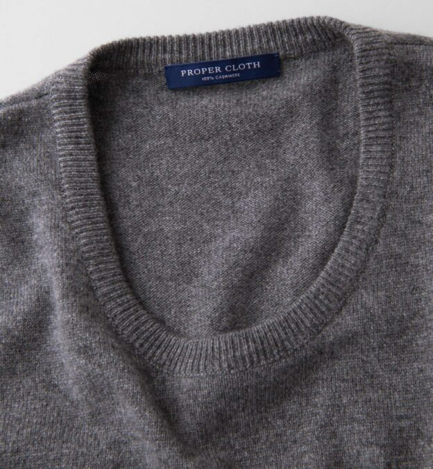 Grey Cashmere Crewneck Sweater