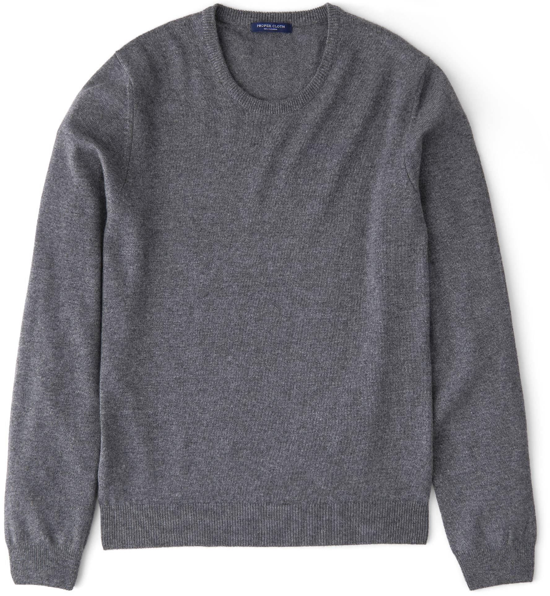 Zoom Image of Grey Cashmere Crewneck Sweater