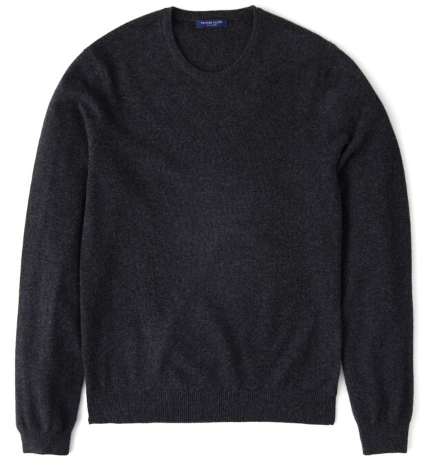 Charcoal Cashmere Crewneck Sweater