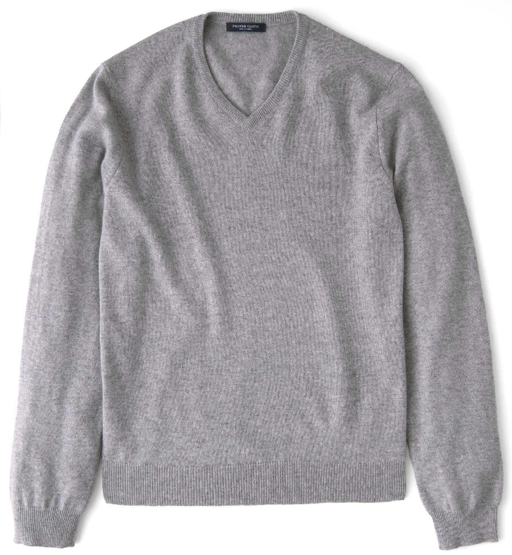 Zoom Image of Light Grey Cashmere V-Neck Sweater
