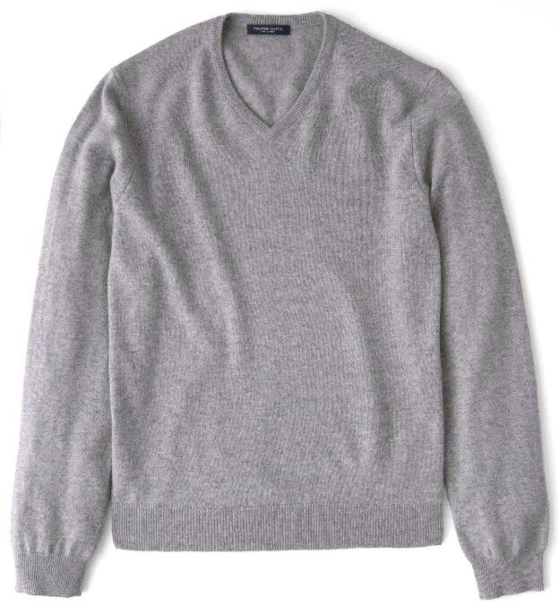 Light Grey Cashmere V-Neck Sweater