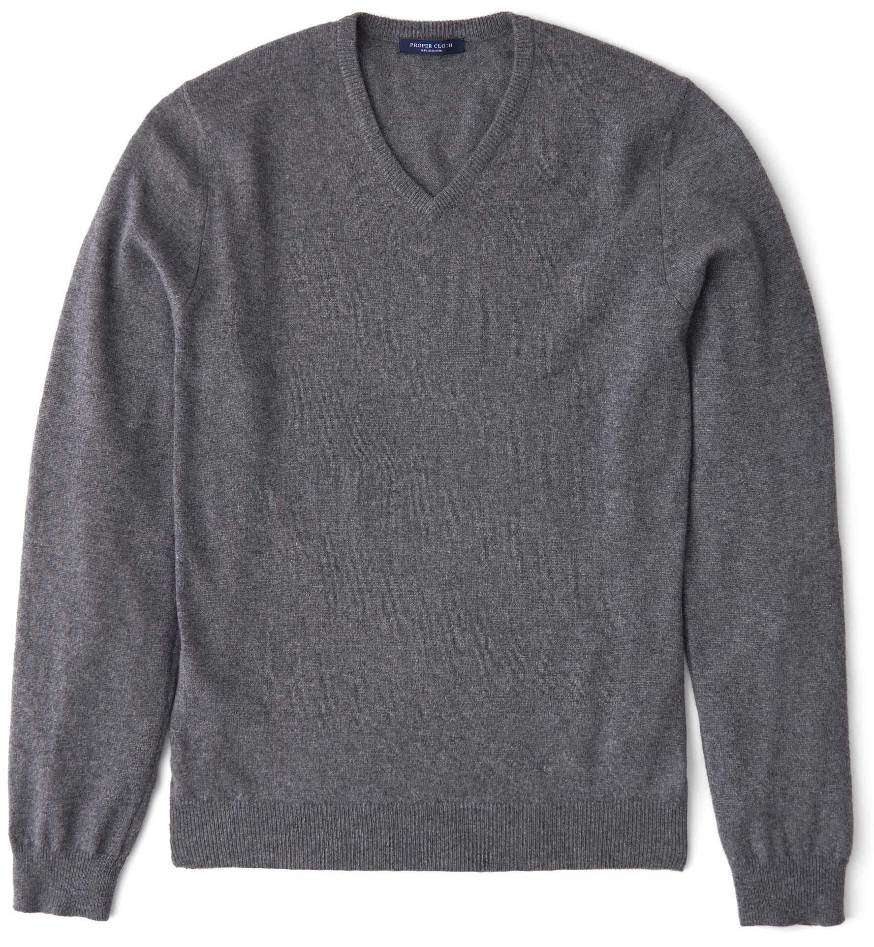 Zoom Image of Grey Cashmere V-Neck Sweater