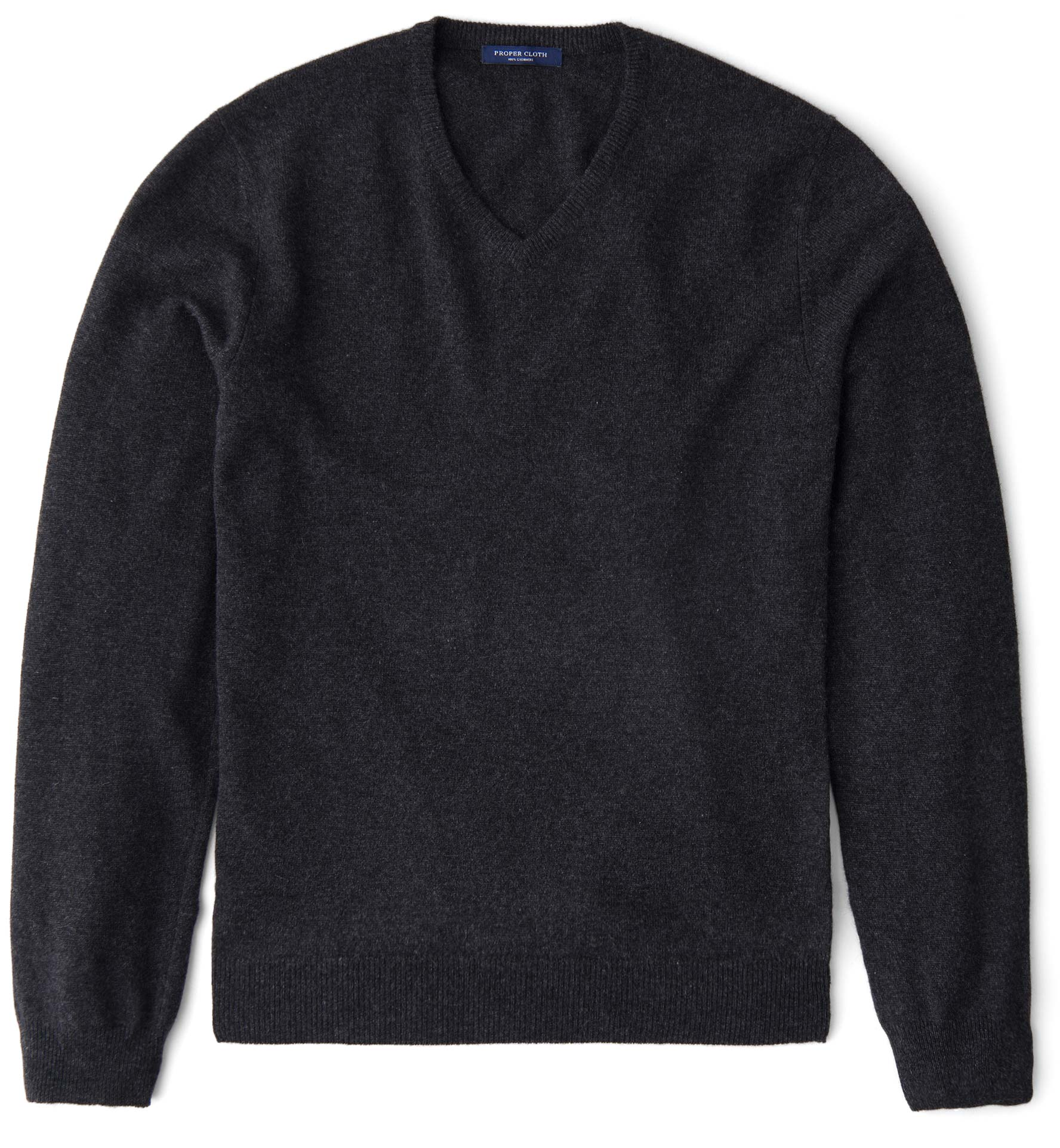 Zoom Image of Charcoal Cashmere V-Neck Sweater