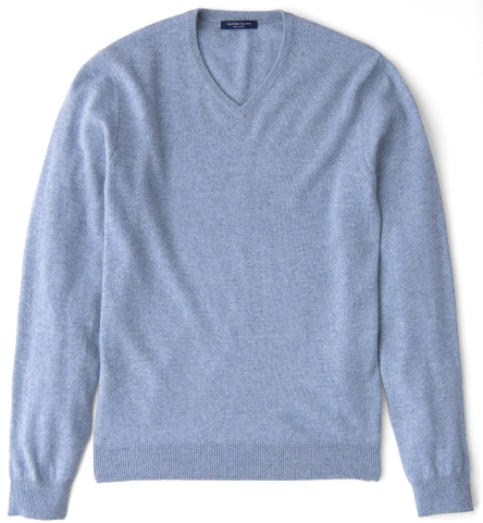 fcc74367e Light Blue Melange Cashmere V-Neck Sweater by Proper Cloth
