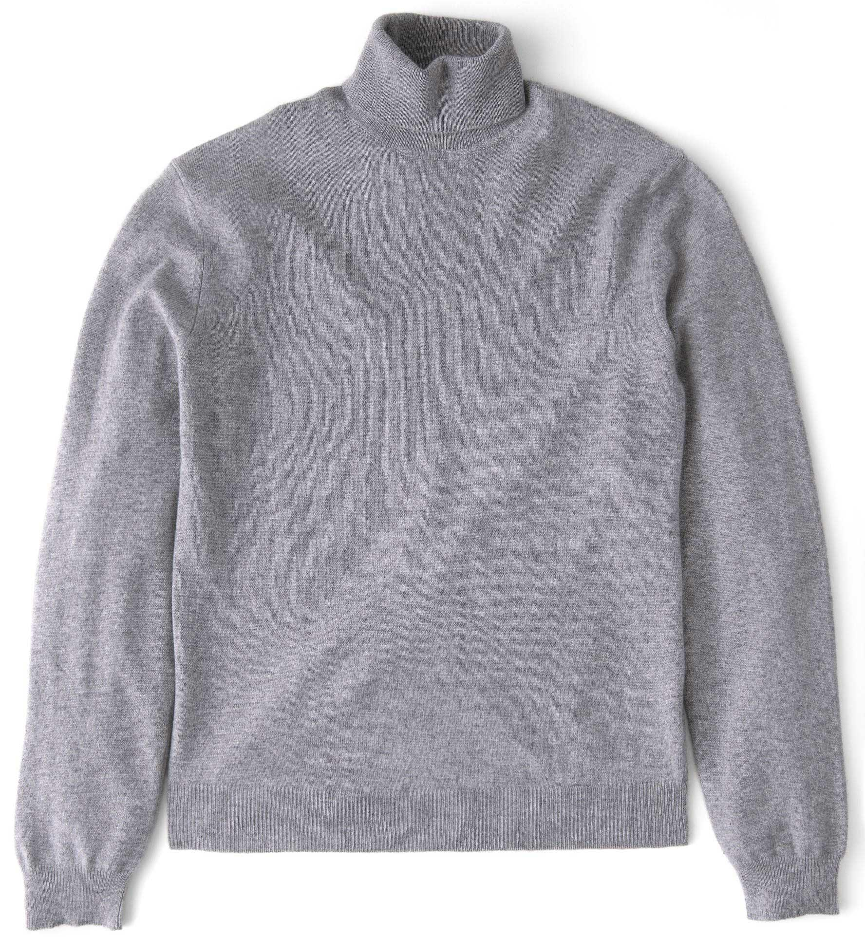 Zoom Image of Light Grey Cashmere Turtleneck Sweater