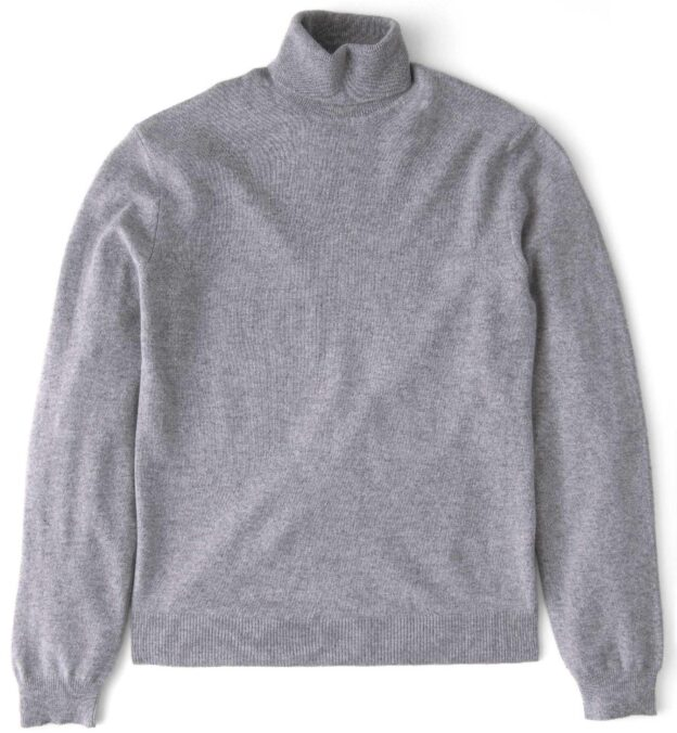 Light Grey Cashmere Turtleneck Sweater