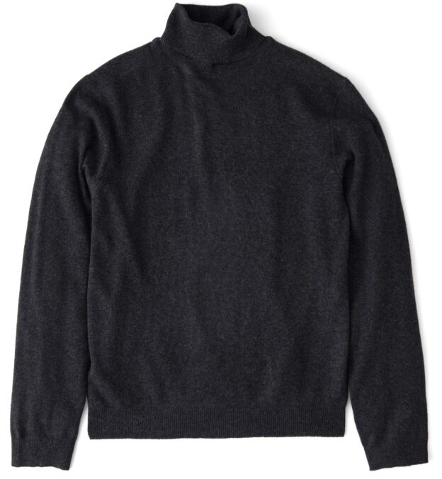 Charcoal Cashmere Turtleneck Sweater