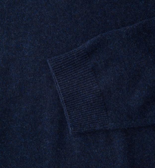 Navy Melange Cashmere Turtleneck Sweater