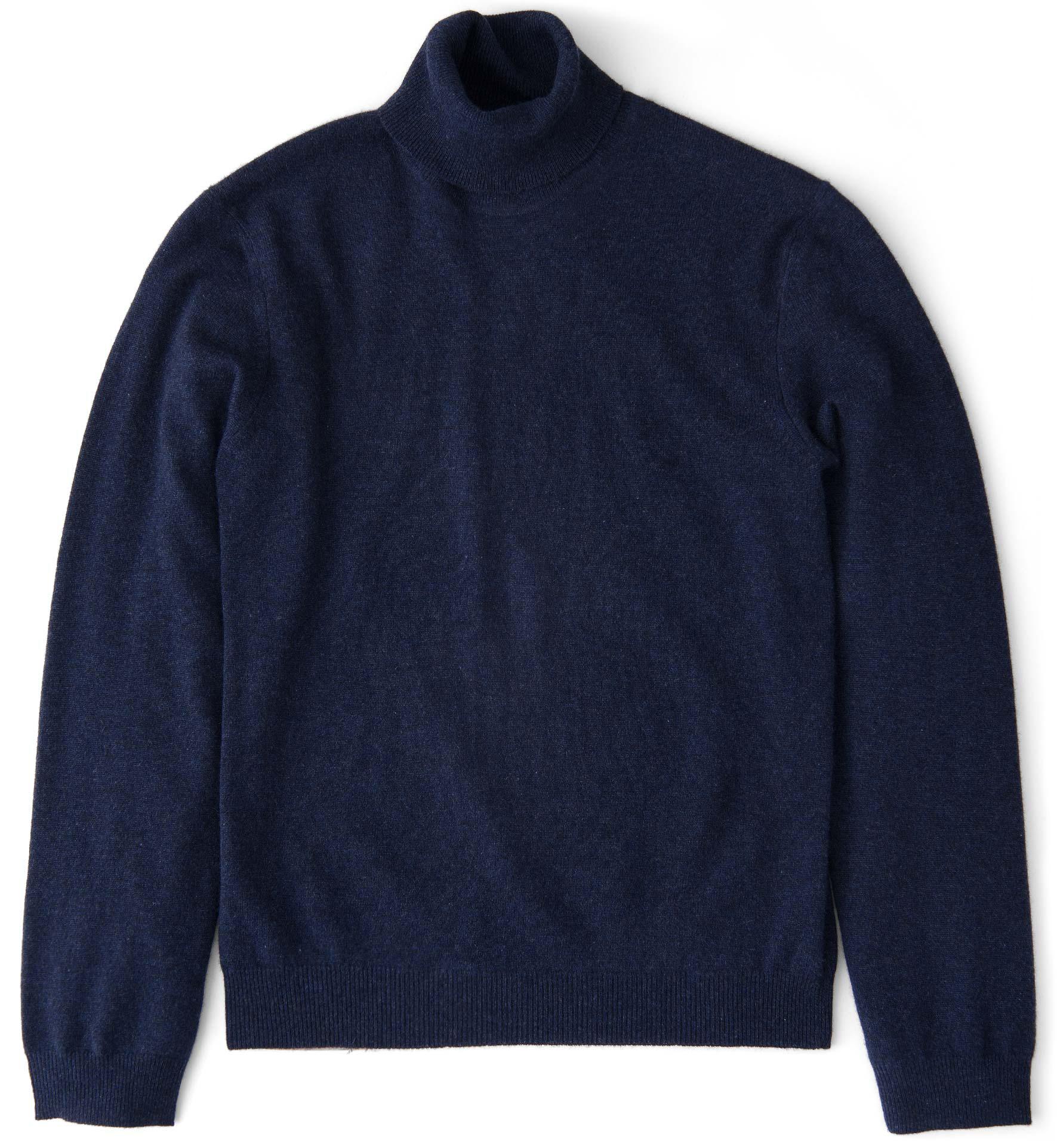 Zoom Image of Navy Melange Cashmere Turtleneck Sweater