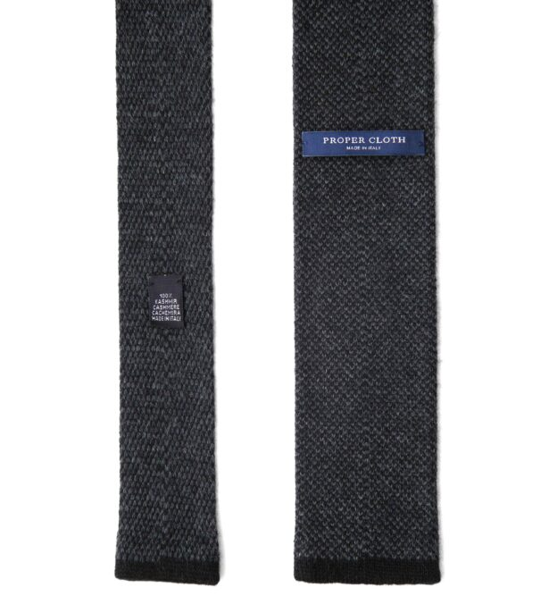 Charcoal Cashmere Knit Tie