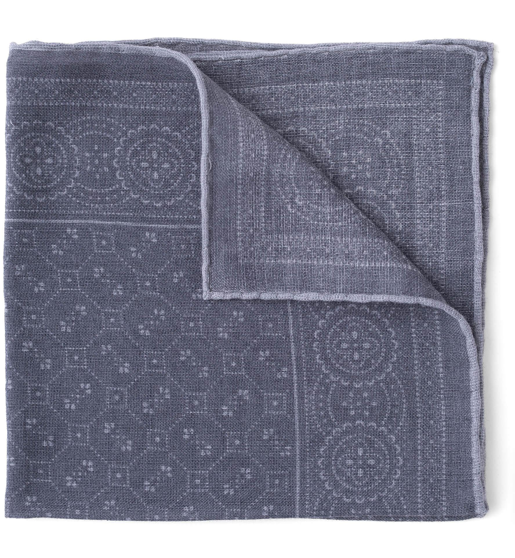 Zoom Image of Grey Bandana Print Wool Pocket Square