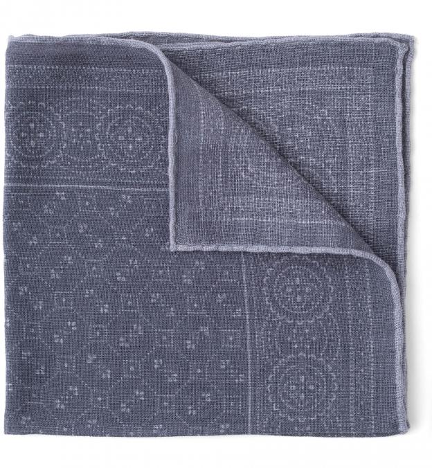 Grey Bandana Print Wool Pocket Square