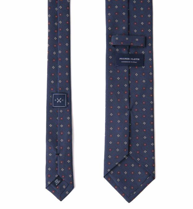 Navy Foulard Madder Silk Tie